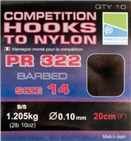 Preston Innovations PR322 Competition Barbed Hooks to Nylon