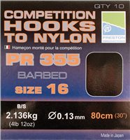 Preston Innovations PR355 Competition Barbed Hooks to Nylon