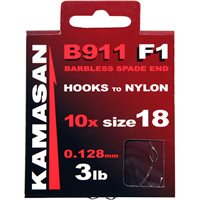 Kamasan B911 F1 Barbless Spade End Hooks To Nylon