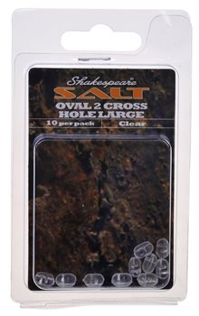 Shakespeare Oval 2 Cross Hole Clear Large - 10Pcs  - Click to view a larger image